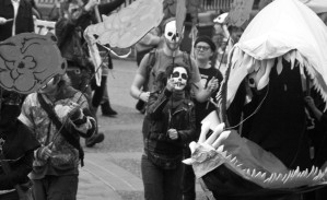 A procession at the No-2010 festival featured zombie salmon and sea lice hand puppets, representing B.C.'s environmental problems. Photo by Jess-C Hall.